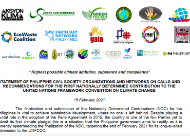 Philippine CSOs call for the highest possible climate ambition, substance and compliance for the Philippine NDC